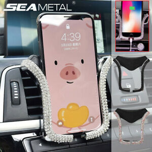 Universal Car Phone Holder Air Vent Mount with Bling Crystal Rhinestone Diamond