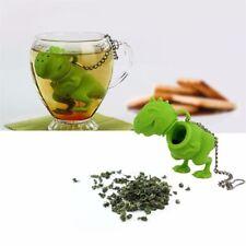 Dinosaurio Infusor de té Colador Herbal hojas sueltas difusor de Filtro de Silicona Verde