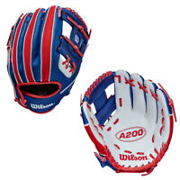"Wilson A200 10"" Youth Baseball Glove White/Royal/Red WBW10020610"