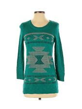 Charlotte Russe Women's Sweater Small Green Silver Black Embellishments Arrows