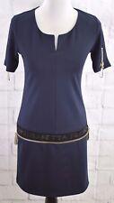 Elisabetta Franchi By Celyn b. Gold Label Sheath Dress Navy Zippers Jewels Sz 36