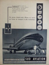 3//1962 PUB SUD AVIATION CARAVELLE AIRLINER AIRLINES TWA SAS RAM TAP FRENCH AD