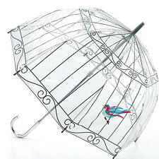 Lulu Guinness by Fulton Designer Umbrella Clear Dome Shaped birdcage Print