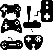 Video game controllers decals, (6) retro controllers stickers, bundle 6