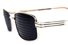 New Gold Metal Frame Fashion Pinhole Corrective Eye Fatigue Relief Glasses
