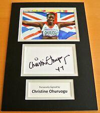CHRISTINE OHURUOGU HAND SIGNED AUTOGRAPH A4 PHOTO DISPLAY OLYMPICS LONDON & COA