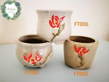 Hand-painted rose pattern clay pots for plants and succulents! Cactus pot!