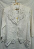 Lino Womens Linen Eyelet Woman's Blouse Jacket Size S Button Front White