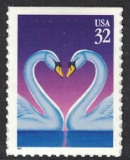 Scott 3123- Swans Forming Heart (Booklet Issue)- MNH (S/A) 32c 1997- unused mint