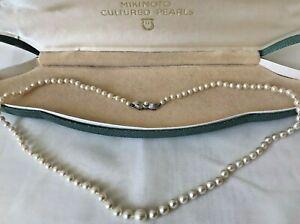 "Mikimoto Akoya Authentic Pearl Necklace Original Box Silver Clasp Vintage, 19.5"""