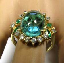 Antique Engagement Ring 6.2CT Colombian Muzo Emerald Diamond 14K Yellow Gold