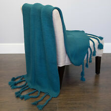 "Acrylic Soft Throw Blanket Camila Solid Color Knit W/Tassels 50""x60"" Teal"
