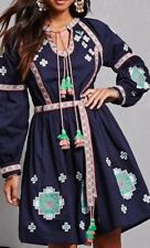 RD Koko Navy Blue Tribal Indian Costume Embroidered Long Sleeve Dress S NEW