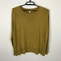 Eileen Fisher Sweater Womens L Green ish Orange Viscose Blend Long Sleeve
