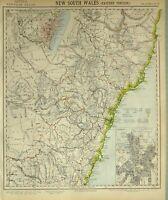 1881 Letts Mappa Nuovo Sud Galles Eastern Porzione Sydney Città Brisbane Cook
