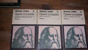 Opere Complete Platone,Laterza ed,tre volumi,1977,79,80