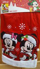 """Disney 48"""" Mickey & Minnie Mouse Santas Christmas Tree Skirt - 90 Year - Nip!"""