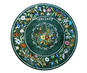 "32"" Marble Coffee Table Top pietraDura Semi Precious Stones Handmade Work"