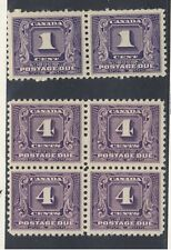 6x Canada Postage Due Stamps J6-Pair MNH VF J8 Block MNG VF Guide Value=$120.00