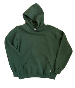 Vintage Russell Athletic Blank Green Hoodie Sweatshirt Size Large Made In USA