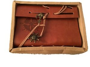 NEW BOXED Lovely Unusual Leather Bound Jotter Pad,with Leather Lace Fastening