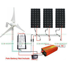 400W 12V DC Wind Turbine Generator & 3PCS 160W Mono PV Solar Panel for Home Farm