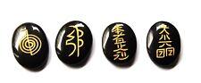 Powerful Black Tourmaline Crystal Reiki Set Gold Lettering 4 Usui Symbols Pouch