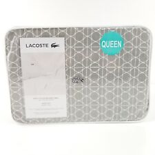 NEW LACOSTE 100% COTTON BRUSHED TWILL 4PC QUEEN BED SHEET SET GREY PRINT