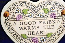 Inspirational Celebrate Friends Pottery Hanging Heart Wall Tile Home Decor