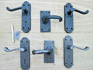 CAST IRON DECORATIVE TRADITIONAL SCROLL LEVER LATCH LOCK BATHROOM DOOR HANDLES