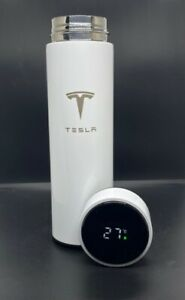 Smart Thermos White Water Bottle With LOGO Temperature Display Tesla 480ml