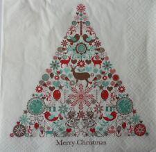 4 x SINGLE PAPER NAPKINS CHRISTMAS DEER  TREE  STARS DECOUPAGE AND CRAFTING -75