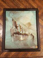 Signed Ivar Bruun Original Oil Impasto 3D Sailboat or Ship Painting 12x10 canvas