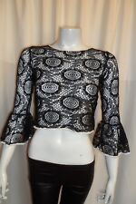 Black Crochet See-Through Flare Long Sleeve Party Summer Top Blouse S 6-8