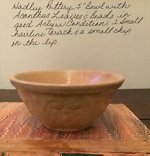 """Yelloware 5"""" Bowl w/ Acanthus Leaves and Beads Hadley Pottery"""
