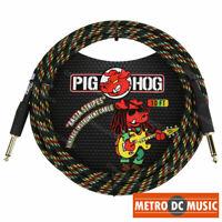 PIG HOG RASTA STRIPES 10' FOOT GUITAR INSTRUMENT BASS PATCH CABLE 1/4 MONO CORD