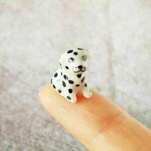 Dollhouse Miniatures Ceramic Figurine Puppy Dalmatian Dog Mini Tiny Hadmade