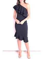 Black One Shoulder Frill Midi Dress Wedding Occasion Birthday 21st Dress 8