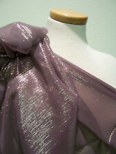 6yds Designer Fabric Silk Chiffon Sophisticated Muted Lilac Shot In Gold Metal