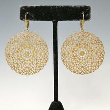 La Vie Parisienne Catherine Popesco Large Round Gold Filigree Earrings Crystals