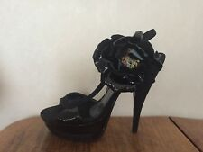 Francesco Sacco Black Suede/Patent Slingback Sandal With Flower EU37 US 7