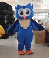 Blue Owl Mascot Costume Professional Cartoon Fancy Complete Outfit Adult Size