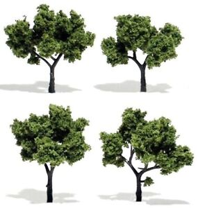"""Multi Scale - LIGHT GREEN Trees 2"""" - 3"""" Package of  4 - WOO-TR1503"""