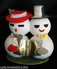 Vtg Snowman Mr Mrs Putz Village Xmas Ornament Paper Mache Mica Foil Felt Japan