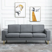 Modern Three Seat Sofa Padded Couch Linen Upholstered Steel Leg Grey