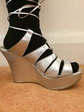 Ladies Leather Silver Size 6 Wedge Strappy Platform Sandals From Aldo