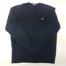 Lacoste Mens  Pullover XL  Blue Cotton Wool V-Neck
