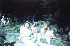 Lot of 2 Vtg 35mm Photo Slide- Girls & Boys Lake Beach Red Kodachrome 1950s