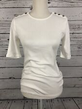 Ralph Lauren-Women's Small Solid White Fitted Bottoned Formal Top- Stretch