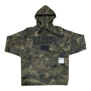 RARE UNDER ARMOUR x PROJECT ROCK USA FLAG VETERANS DAY CAMO HOODIE SIZE XXL 2XL